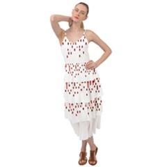 Red And White Matrix Patterned Design Layered Bottom Dress by dflcprintsclothing