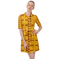 Digital Illusion Belted Shirt Dress by Sparkle