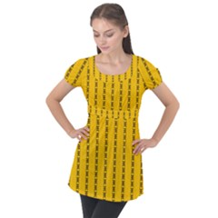 Digital Stars Puff Sleeve Tunic Top by Sparkle