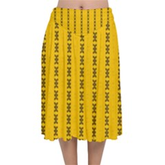 Digital Stars Velvet Flared Midi Skirt