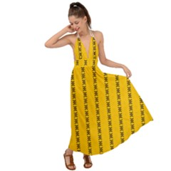 Digital Stars Backless Maxi Beach Dress