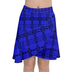 Digital Illusion Chiffon Wrap Front Skirt by Sparkle