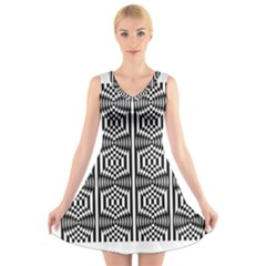 Optical Illusion V-neck Sleeveless Dress
