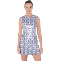 Digital Stars Lace Up Front Bodycon Dress