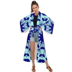 Dark Blue Leaves Maxi Kimono by Lotus
