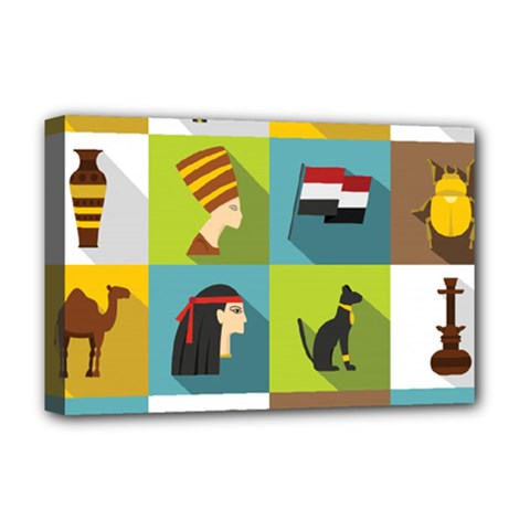 Egypt Travel Items Icons Set Flat Style Deluxe Canvas 18  X 12  (stretched) by Wegoenart
