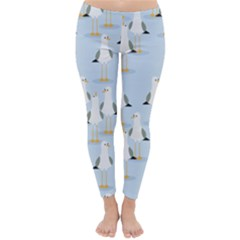 Cute Seagulls Seamless Pattern Light Blue Background Classic Winter Leggings