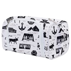 Dark Seamless Pattern Symbols Landmarks Signs Egypt Toiletries Pouch by Wegoenart