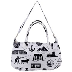 Dark Seamless Pattern Symbols Landmarks Signs Egypt Removal Strap Handbag by Wegoenart