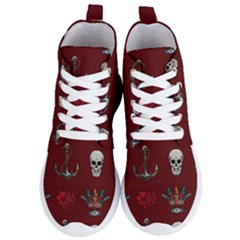 Tattoo Old School Background Pattern Women s Lightweight High Top Sneakers