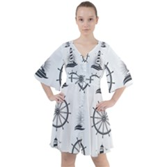 Marine Nautical Seamless Pattern With Vintage Lighthouse Wheel Boho Button Up Dress