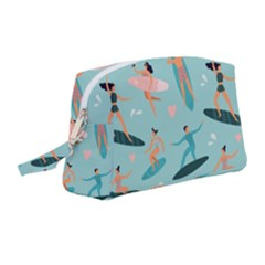 Beach Surfing Surfers With Surfboards Surfer Rides Wave Summer Outdoors Surfboards Seamless Pattern Wristlet Pouch Bag (medium)