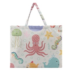 Underwater Seamless Pattern Light Background Funny Zipper Large Tote Bag by Wegoenart