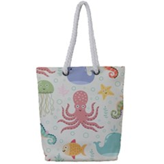 Underwater Seamless Pattern Light Background Funny Full Print Rope Handle Tote (small)