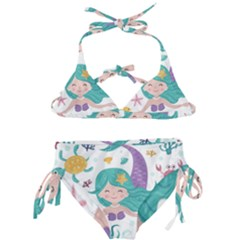 Set Cute Mermaid Seaweeds Marine Inhabitants Kids  Classic Bikini Set by Wegoenart