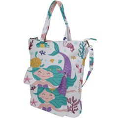 Set Cute Mermaid Seaweeds Marine Inhabitants Shoulder Tote Bag by Wegoenart