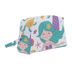 Set Cute Mermaid Seaweeds Marine Inhabitants Wristlet Pouch Bag (medium)