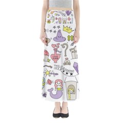 Fantasy Things Doodle Style Vector Illustration Full Length Maxi Skirt
