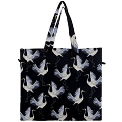 Crane Pattern Canvas Travel Bag