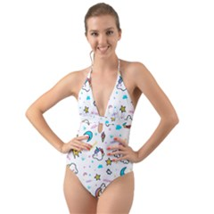 Unicorns Rainbows Seamless Pattern Halter Cut-out One Piece Swimsuit