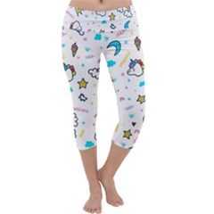 Unicorns Rainbows Seamless Pattern Capri Yoga Leggings