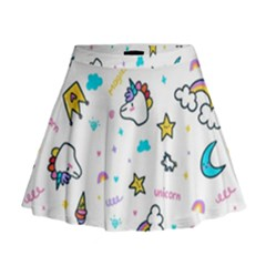 Unicorns Rainbows Seamless Pattern Mini Flare Skirt