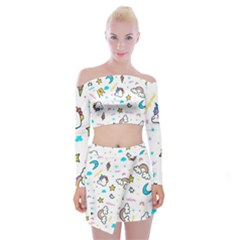 Unicorns Rainbows Seamless Pattern Off Shoulder Top With Mini Skirt Set