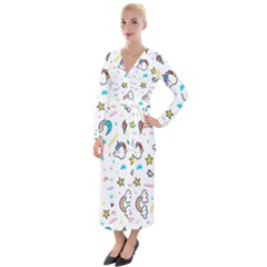Unicorns Rainbows Seamless Pattern Velvet Maxi Wrap Dress
