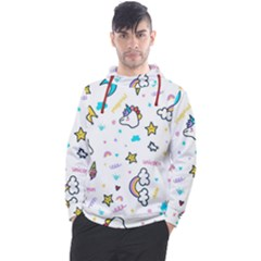 Unicorns Rainbows Seamless Pattern Men s Pullover Hoodie