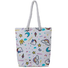Unicorns Rainbows Seamless Pattern Full Print Rope Handle Tote (small)