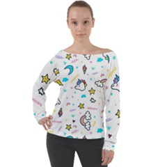 Unicorns Rainbows Seamless Pattern Off Shoulder Long Sleeve Velour Top