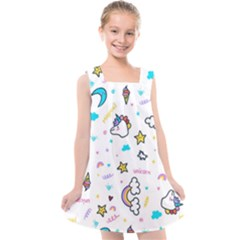 Unicorns Rainbows Seamless Pattern Kids  Cross Back Dress