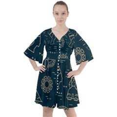 Dark Seamless Pattern Symbols Landmarks Signs Egypt Boho Button Up Dress