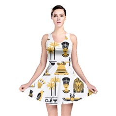 Egypt Symbols Decorative Icons Set Reversible Skater Dress
