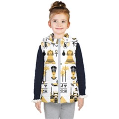 Egypt Symbols Decorative Icons Set Kids  Hooded Puffer Vest by Wegoenart
