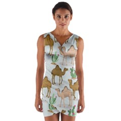Camels Cactus Desert Pattern Wrap Front Bodycon Dress