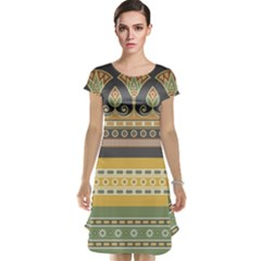 Seamless Pattern Egyptian Ornament With Lotus Flower Cap Sleeve Nightdress