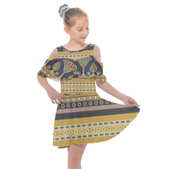 Seamless Pattern Egyptian Ornament With Lotus Flower Kids  Shoulder Cutout Chiffon Dress