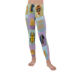 Egypt Icons Set Flat Style Kids  Lightweight Velour Leggings
