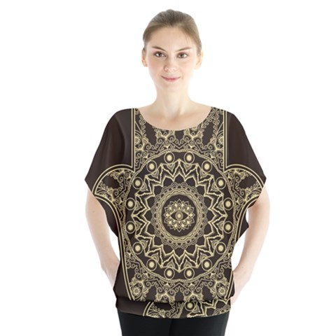 Hamsa Hand Drawn Symbol With Flower Decorative Pattern Batwing Chiffon Blouse by Wegoenart