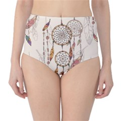 Coloured Dreamcatcher Background Classic High-waist Bikini Bottoms by Wegoenart