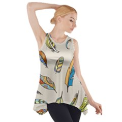 Vector Boho Doodle Feathers Seamless Pattern Illustration Side Drop Tank Tunic