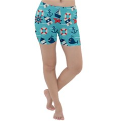 Seamless Pattern Nautical Icons Cartoon Style Lightweight Velour Yoga Shorts
