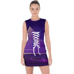 Egyptian Pyramids Night Landscape Cartoon Lace Up Front Bodycon Dress