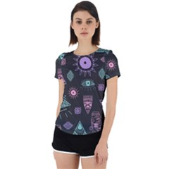 Vintage Seamless Pattern With Tribal Art African Style Drawing Back Cut Out Sport Tee