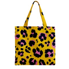 Leopard Print Seamless Pattern Zipper Grocery Tote Bag by Wegoenart