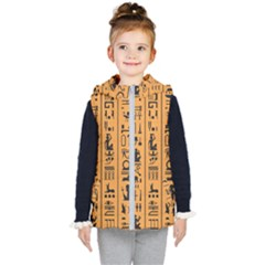 Egyptian Hieroglyphs Ancient Egypt Letters Papyrus Background Vector Old Egyptian Hieroglyph Writing Kids  Hooded Puffer Vest by Wegoenart