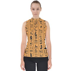 Egyptian Hieroglyphs Ancient Egypt Letters Papyrus Background Vector Old Egyptian Hieroglyph Writing Mock Neck Shell Top