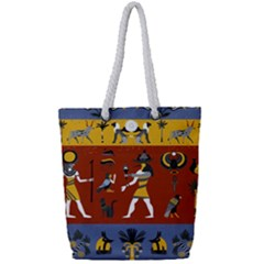 Ancient Egyptian Religion Seamless Pattern Full Print Rope Handle Tote (small)