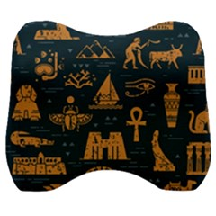Dark Seamless Pattern Symbols Landmarks Signs Egypt Velour Head Support Cushion by Wegoenart